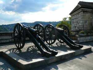 Two cannons on top of Munot Fortress in Schaffhausen.