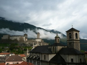 Castelgrande Castle and La Collegiata Church in Bellinzona.