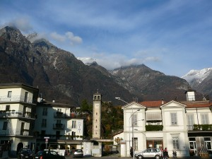 City centre of Chiavenna in Lombardy.