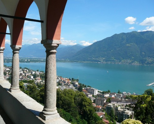 A view of Lake Maggiore from Madonna del Sasso Church in Locarno.