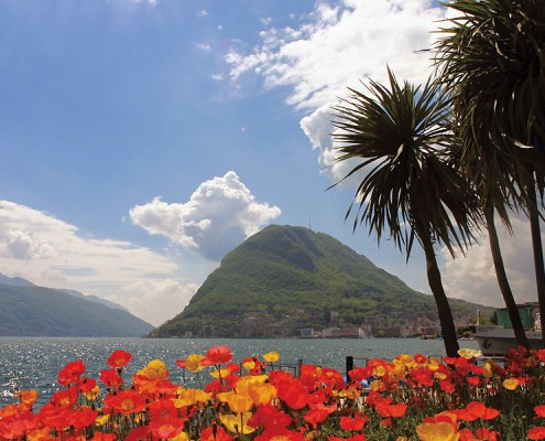Mount San Salvatore and lake in Lugano.