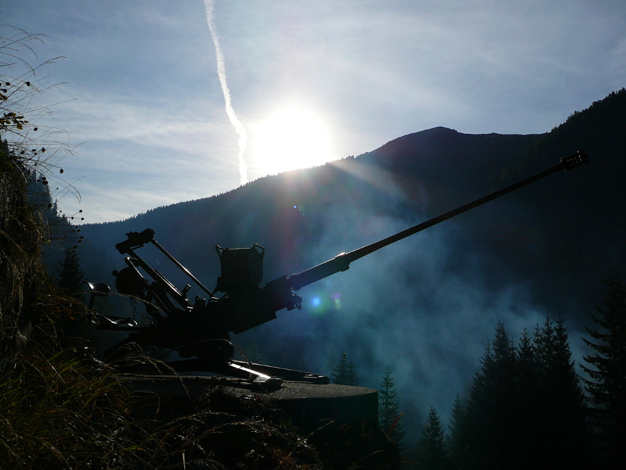 Anti-aircraft cannon at Crestawald Fortress, Grisons.