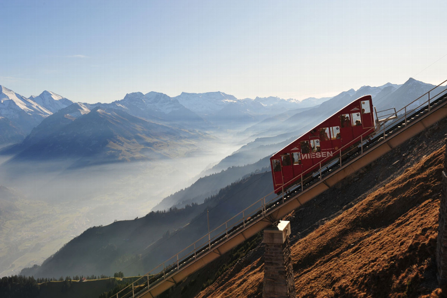 Funicular railway to the top of Mount Niesen, so called Swiss Pyramid.