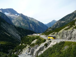 A Postbus on the Grimsel Pass.