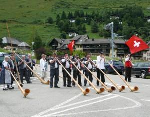 A group of alpenhorn players, Moléson.