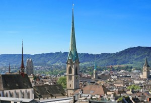 City panorama of Zurich.