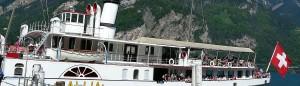 Statek parowy na Jeziorze Czterech Kantonów w Szwajcarii