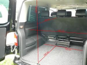 Bus VW T5 Caravelle wersja długa, wymiary bagażnika.