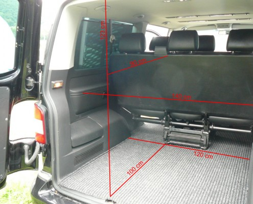 Bus VW T5 Caravelle (long version), boot dimensions.
