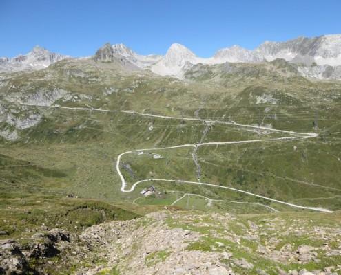 Blick auf den Nufenenpass von Ticino.