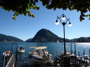 Mount San Salvatore and lake in Lugano.