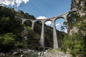 Bernina Express train on the Landwasser viaduct.