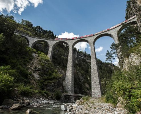 Bernina Express train on the Landwasser viaduct.