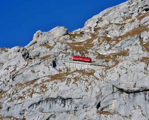 A red cogwheel railway on the Pilatus mountain.