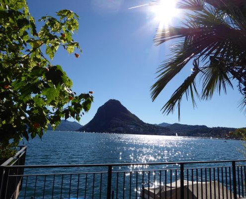 View of Lugano on lake and mountain San Salvatore.