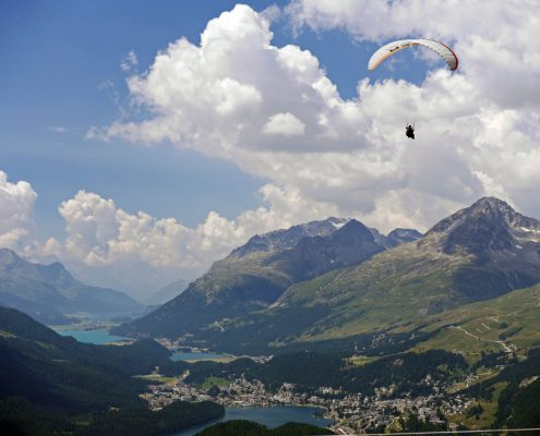 Valley of the Upper Engadine with the resort St. Moritz, lakes and paragliding.