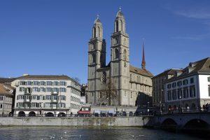 Grossmünster Church on the River Limmat in Zurich.