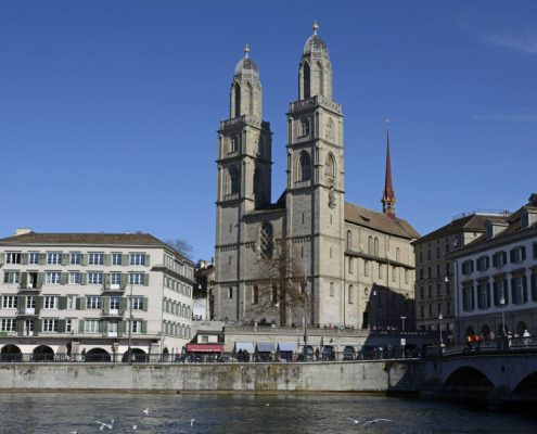 Grossmünster Church on the River Limmat in Zurich.