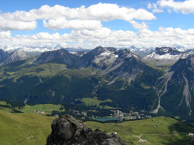 A view from above of Arosa in Schanfigg valley in Switzerland in summer.