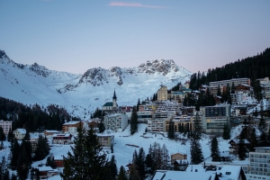 A view of Arosa in Switzerland in winter during sunset or sunrise.