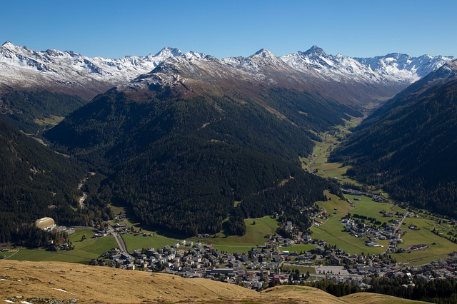 A view from above of Davos in Switzerland in summer.
