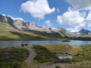 A view of Lake Tannensee near Engelberg in Switzerland in summer.