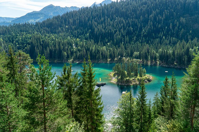 A view of Lake Caumasee near Flims in Switzerland in summer.