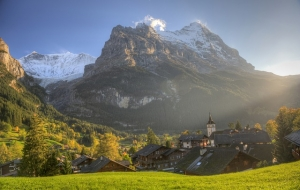 A view of Grindelwald in Switzerland in summer.