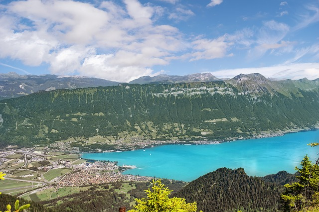 A view of Lake Brienz near Interlaken in Switzerland in summer.