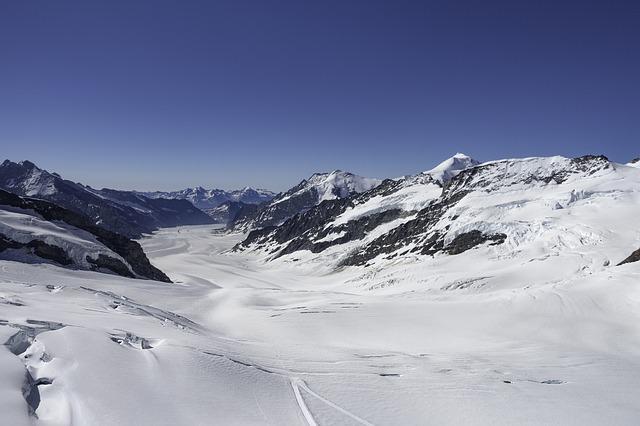 A view of the Aletsch Glacier from Jungfraujoch in Switzerland.