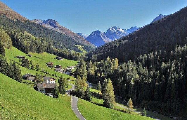 A view of Klosters in Switzerland in summer.