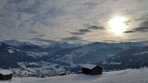 A view from above of Falera near Laax in Switzerland in winter.
