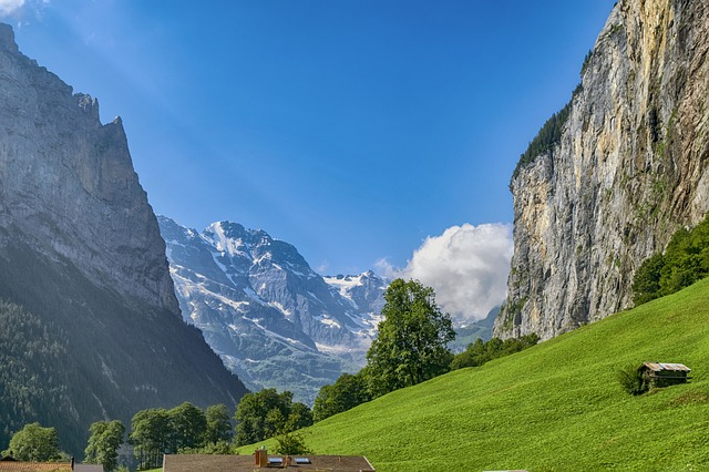 A view from Lauterbrunnen in Switzerland in summer.