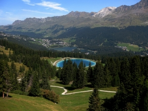 A view from above of Lenzerheide and Lake Heidsee in Switzerland in summer.