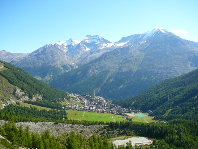A view from above of Saas-Fee in Switzerland in summer.
