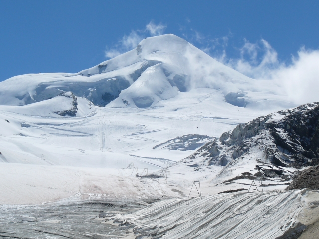 A view of the winter landscape and ski runs near Saas-Fee in Switzerland.