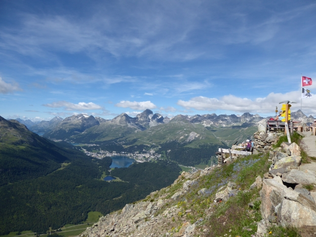 A view from Segantinihütte of St. Moritz, Lake St. Moritz and the Upper Engadine valley in Switzerland in summer.