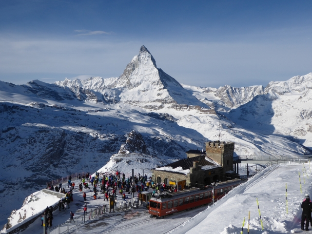 A view from Gornergrat of Matterhorn and Gornergrat rack railway near Zermatt in Switzerland in winter.