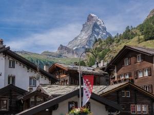 A view from Zermatt of Matterhorn in Switzerland in summer.