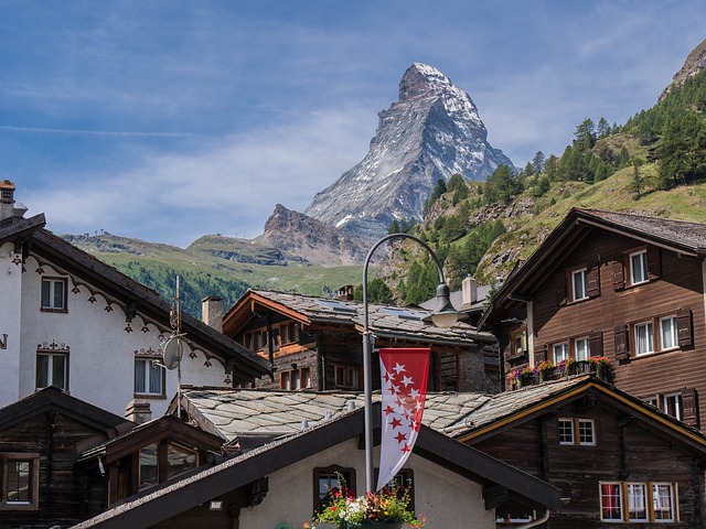 A view from Zermatt of Matterhorn in Switzerland in summer.
