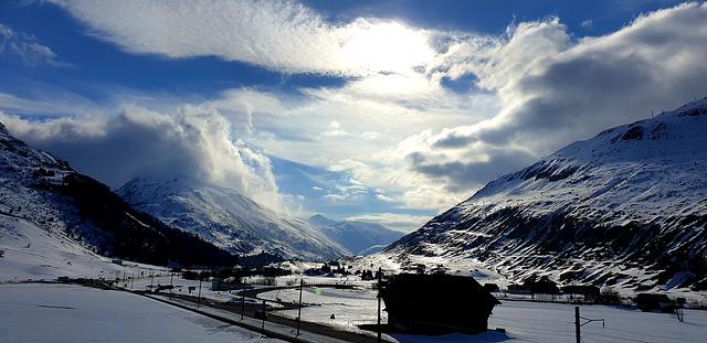 A view of Urseren valley / Andermatt in Switzerland in winter.
