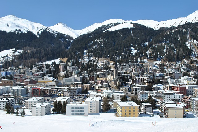 A view of Davos in Switzerland in winter.