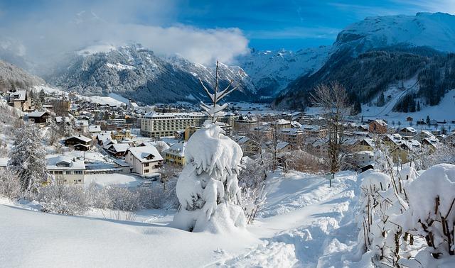 A view of Engelberg in Switzerland in winter.