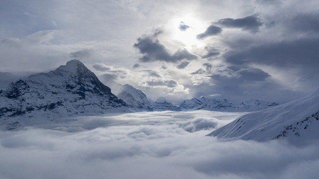 Mountains around Grindelwald in Switzerland in winter.