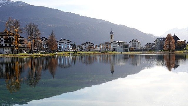 A view of Laax village and the lake in Switzerland.